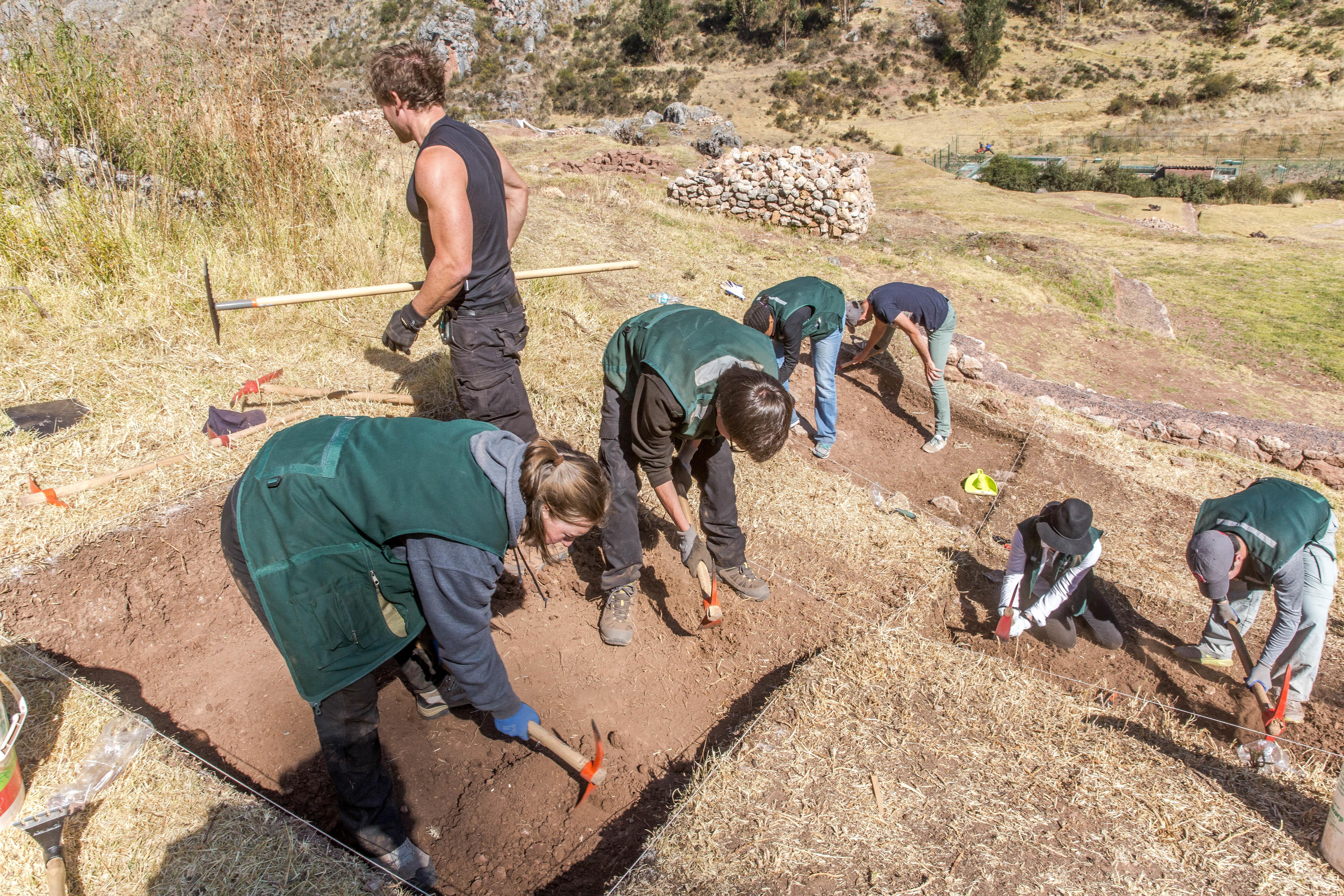 Projects Abroad volunteers are seen participating in an excavation project whilst on their archaeology volunteering in Peru.